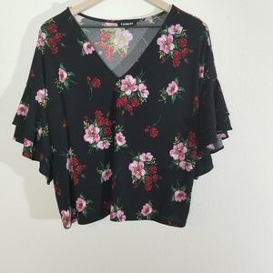 Express Floral Shirt w/ Ruffle Sleeves